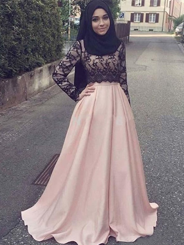A-Line/Princess Scoop Long Sleeves Sweep/Brush Train Applique Satin Muslim Dresses