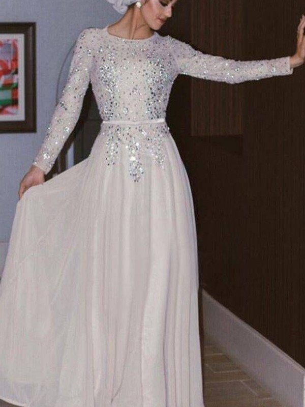 A-Line/Princess Scoop Long Sleeves Crystal Chiffon Floor-Length Muslim Dresses