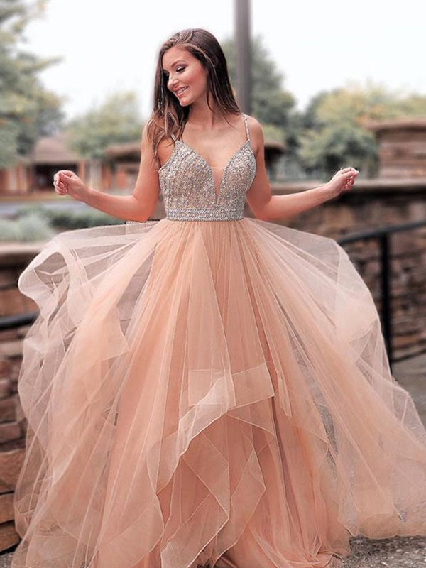 A-Line/Princess Straps Sleeveless Sweep/Brush Train Beading Tulle Dresses