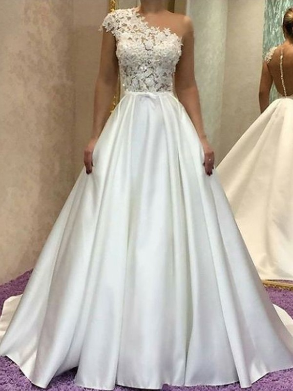 A-Line/Princess One-Shoulder Sleeveless Lace Sweep/Brush Train Satin Wedding Dresses