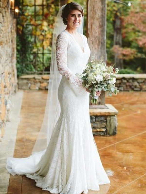 Trumpet/Mermaid V-neck Long Sleeves Lace Sweep/Brush Train Ruffles Wedding Dresses