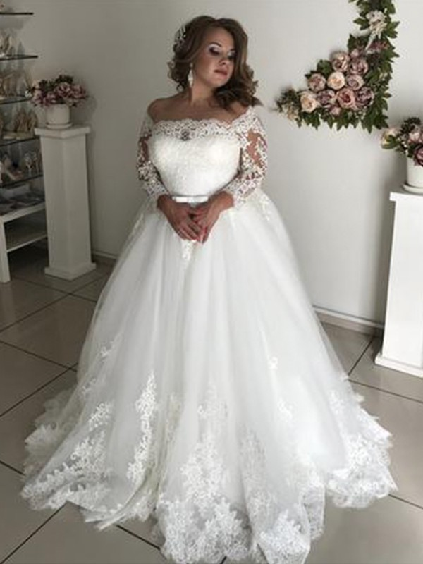 A-Line/Princess Off-the-Shoulder Long Sleeves Lace Sweep/Brush Train Tulle Wedding Dresses