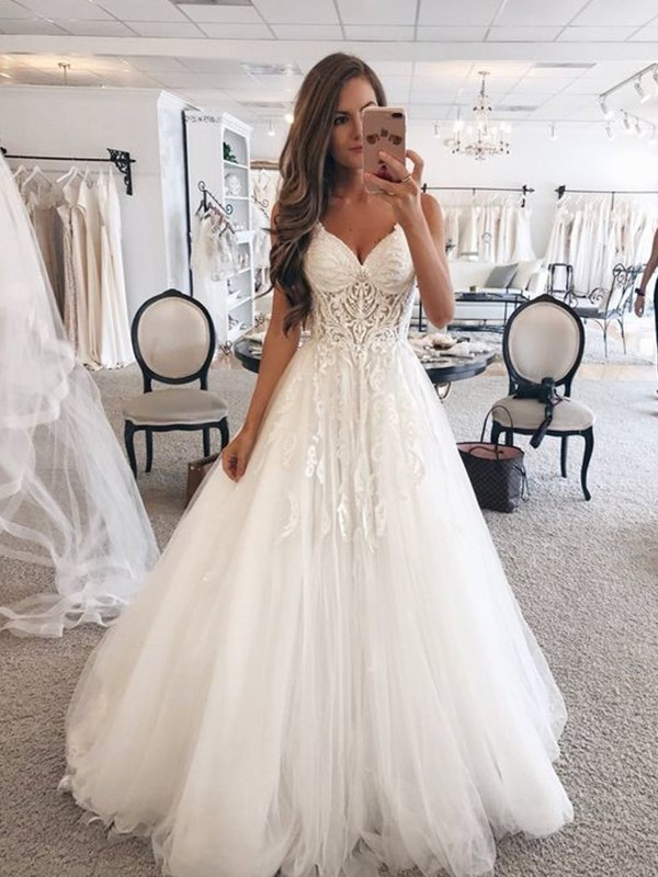 A-Line/Princess Sweetheart Sleeveless Lace Tulle Floor-Length Wedding Dresses