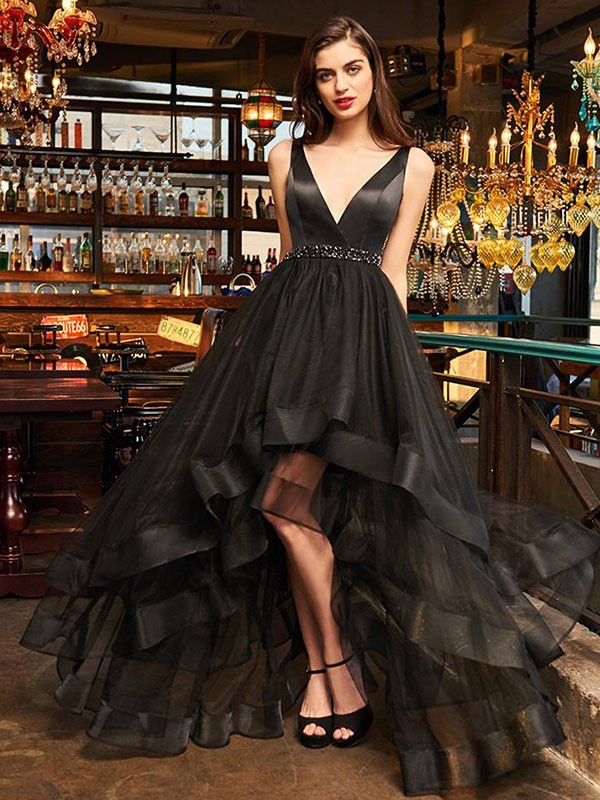 A-Line/Princess V-neck Sleeveless Asymmetrical Ruffles Organza Dresses