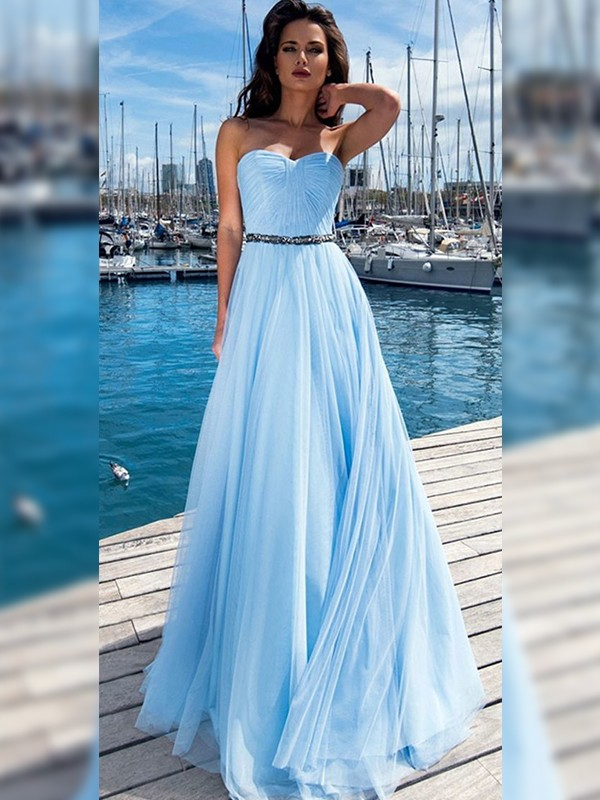 A-Line/Princess Sweetheart Sleeveless Chiffon Ruffles Floor-Length Dresses