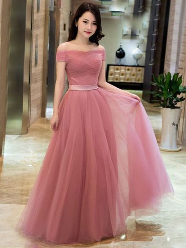 A-Line/Princess Off-the-Shoulder Sleeveless Tulle Ruffles Floor-Length Dresses