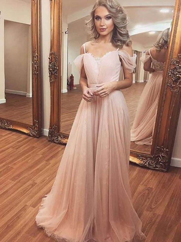 A-Line/Princess Off-the-Shoulder Sleeveless Tulle Ruched Sweep/Brush Train Dresses