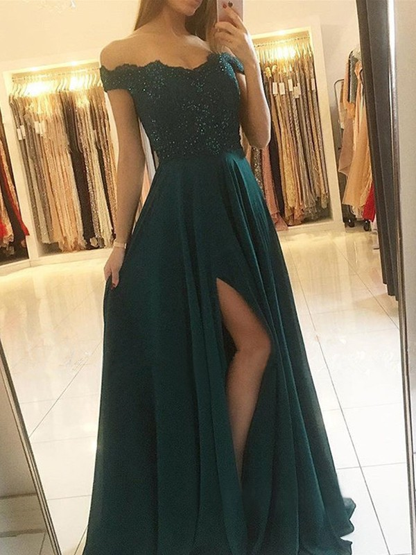 A-Line/Princess Off-the-Shoulder Sleeveless Chiffon Floor-Length Beading Dresses