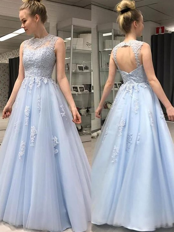 A-Line/Princess Sleeveless Sheer Neck Floor-Length Applique Tulle Dresses