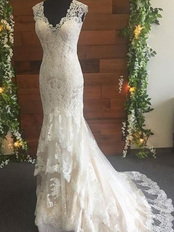 Trumpet/Mermaid Tulle Lace V-neck Sleeveless Sweep/Brush Train Wedding Dresses