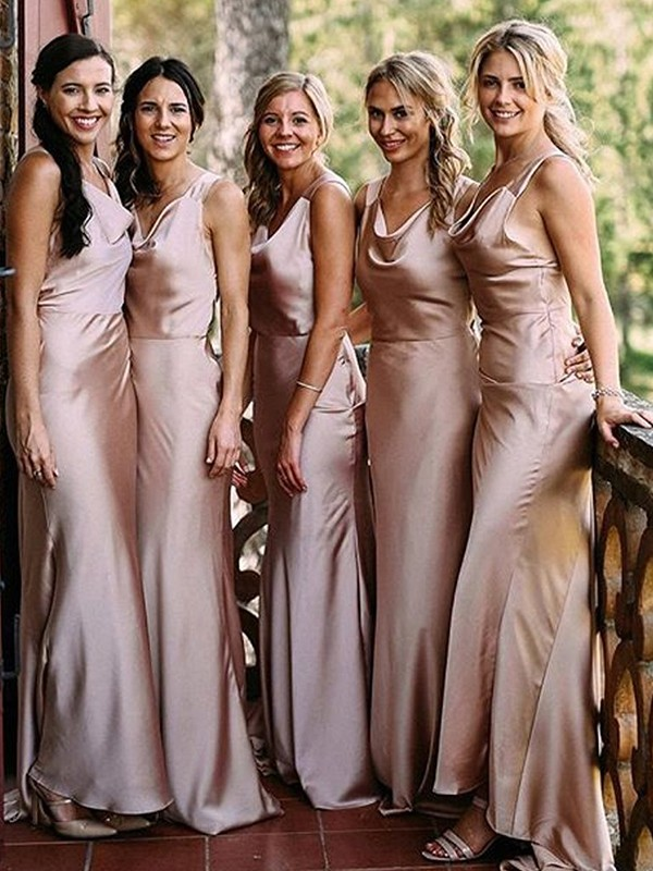 Sheath/Column Sleeveless V-neck Floor-Length Silk like Satin Bridesmaid Dresses