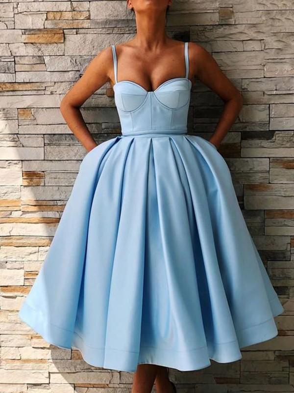 Ball Gown Satin Ruffles Spaghetti Straps Sleeveless Tea-Length Homecoming Dresses
