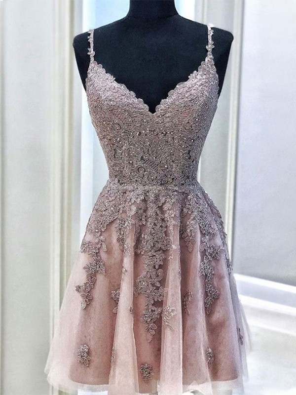 A-Line/Princess Tulle Beading Spaghetti Straps Sleeveless Short/Mini Homecoming Dresses