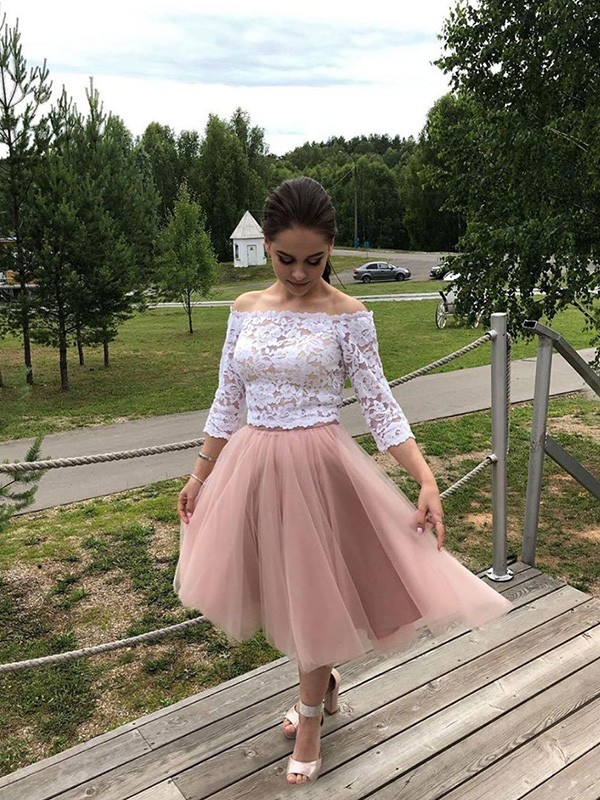 A-Line/Princess Tulle Lace Off-the-Shoulder Long Sleeves Tea-Length Homecoming Dresses
