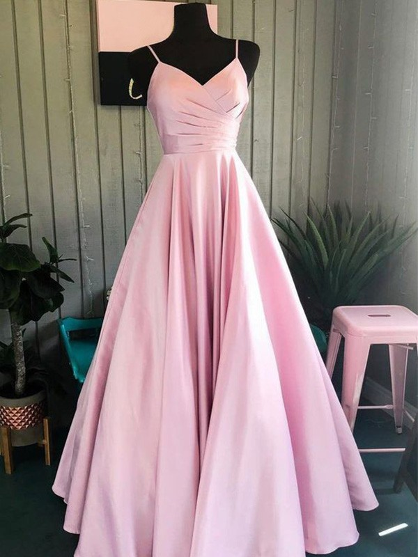 A-Line Spaghetti Straps Floor-Length Satin Ruched Sleeveless Prom/Formal Evening Dresses