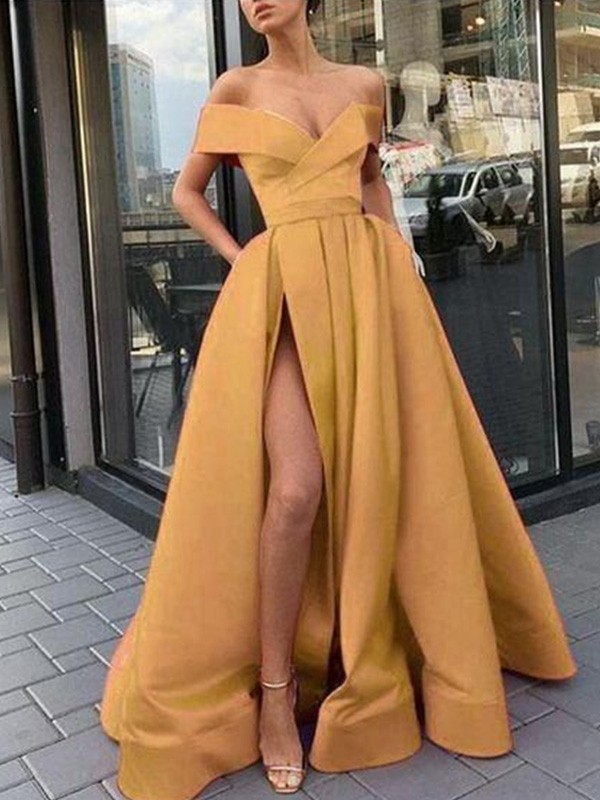 A-Line Off-the-Shoulder Satin Ruffles Sleeveless Long Prom/Formal Evening Dresses
