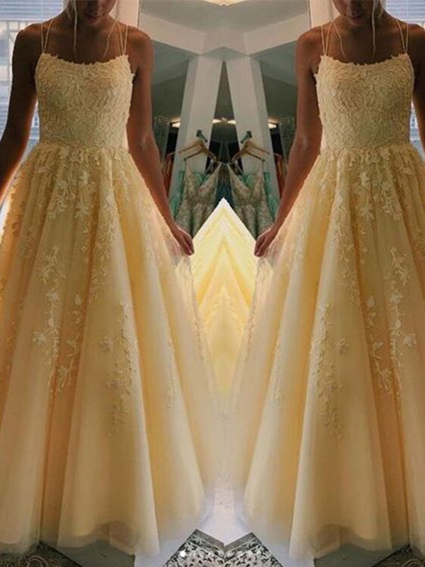 A-Line Spaghetti Straps Sleeveless Tulle Applique Long Prom/Formal Evening Dresses