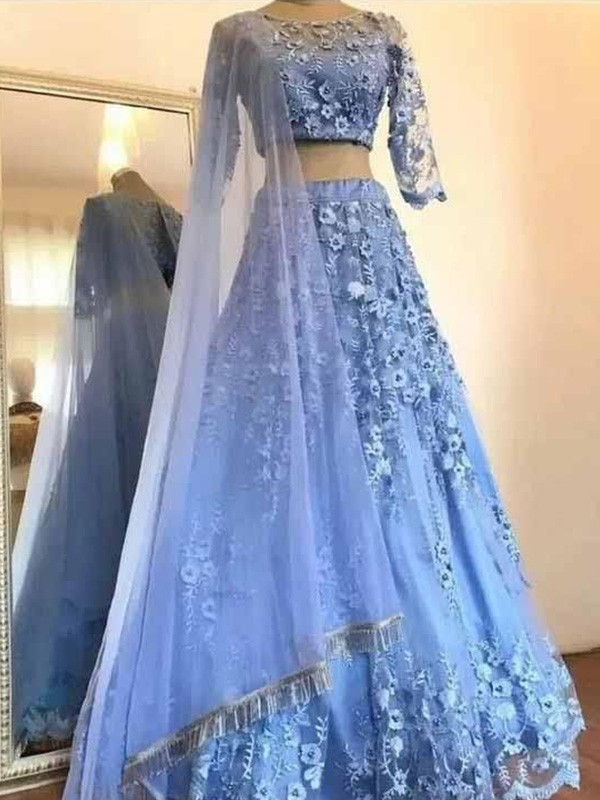 A-Line Scoop Tulle Applique 3/4 Sleeves Long Two Piece Prom/Formal Evening Dresses
