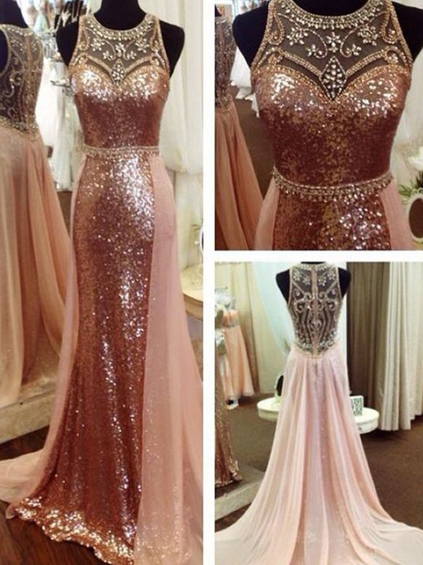 Kiss Of Stars A-Line Scoop Sleeveless Beading Sequins Long Formal Evening Dress