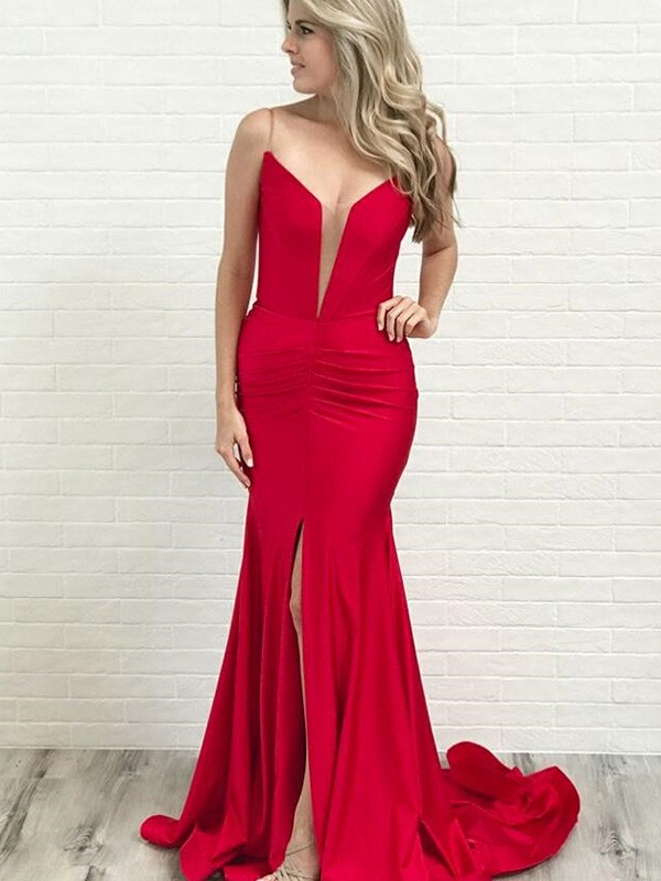 Dance All Night A-Line Spaghetti Straps Court Train Ruched Satin Sleeveless Dresses