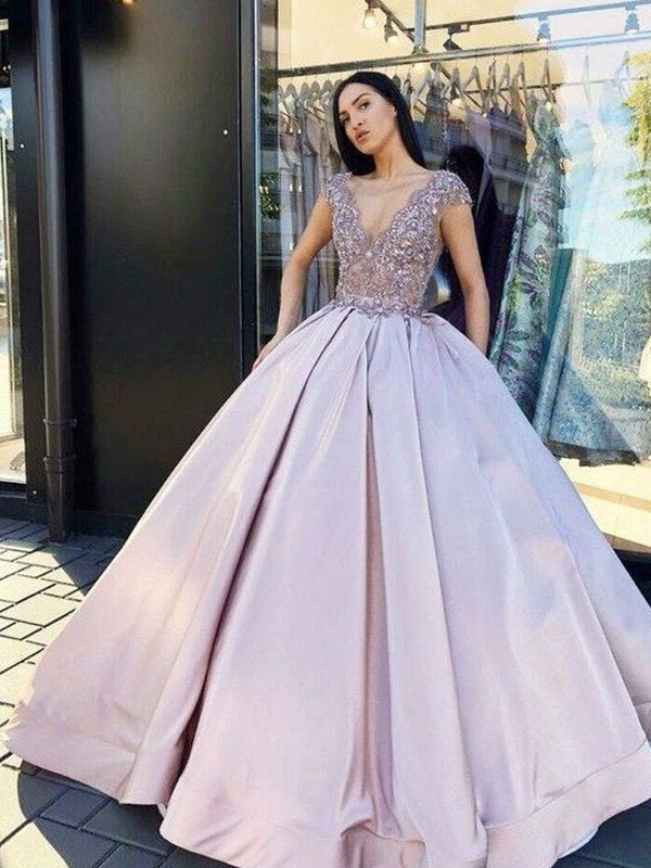 Dreaming Of You Ball Gown Satin Beading V-neck Floor-Length Short Sleeves Dresses