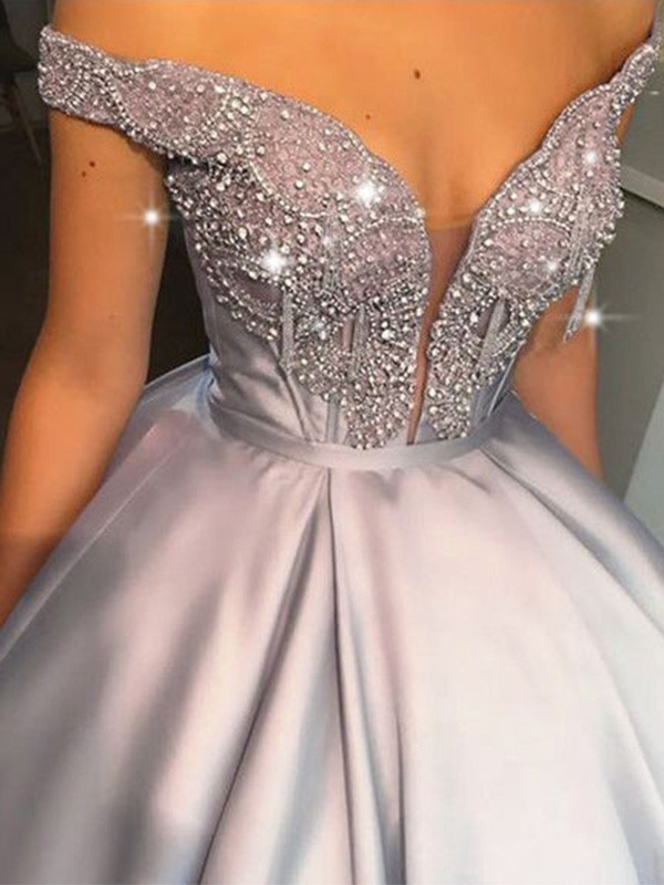 Ball Gown Beading Off-the-Shoulder Satin Sleeveless Long Prom/Formal Evening Dresses
