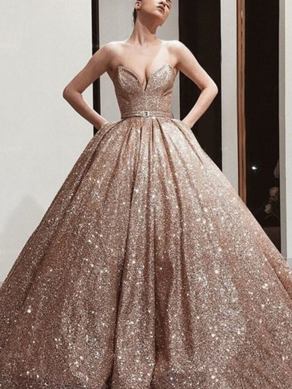 Ball Gown Sweetheart Neckline Sequins Sash/Ribbon/Belt Sleeveless Floor-Length Dresses