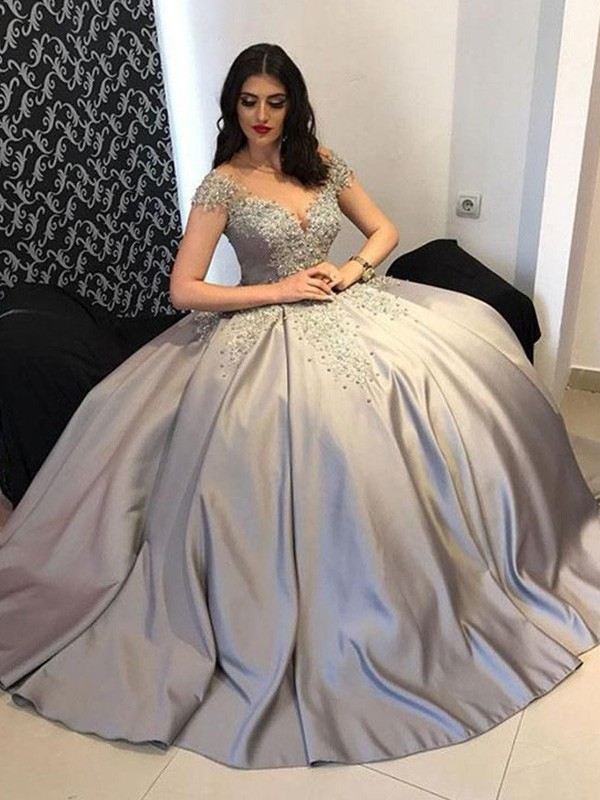 Dreaming Of You Ball Gown Satin Off-the-Shoulder Sleeveless Beading Long Dresses