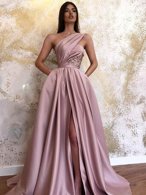 A-Line Satin One-Shoulder Sleeveless Ruched Long Prom/Formal Evening Dresses