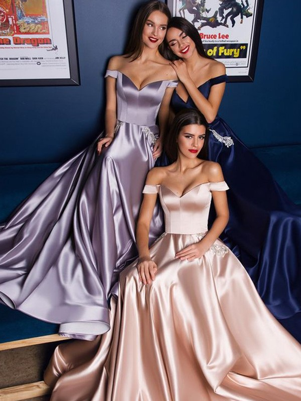 A-Line Satin Off-the-Shoulder Ruffles Sleeveless Long Prom/Formal Evening Dresses