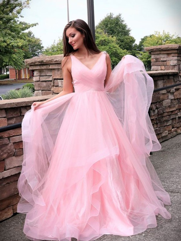 Dreaming Of You A-Line V-neck Tulle Ruched Sleeveless Sweep/Brush Train Dresses