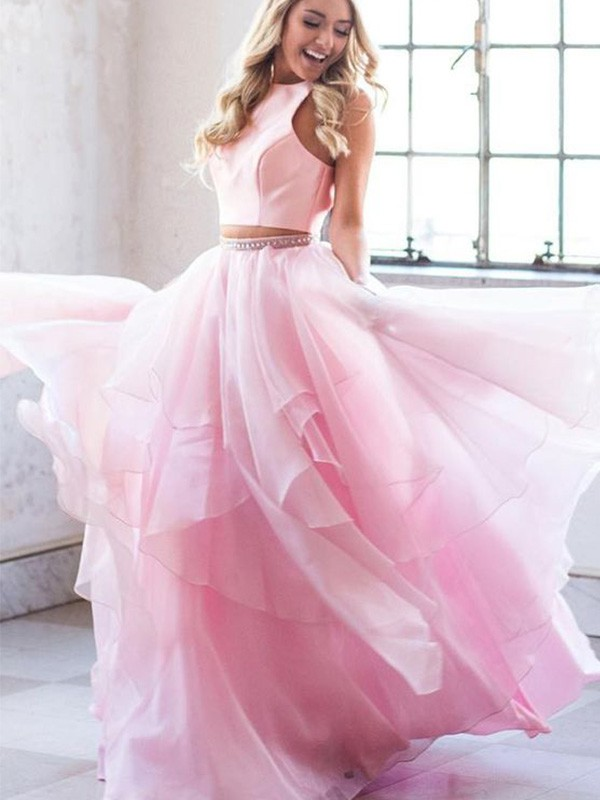 A-Line Beading Scoop Tulle Sleeveless Long Two Piece Prom/Formal Evening Dresses