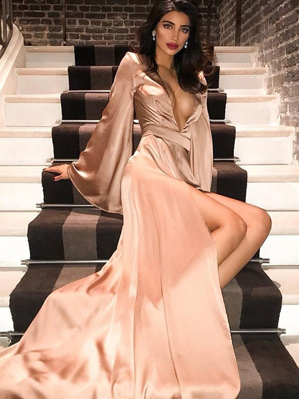 Magical Hour A-Line V-neck Long Sleeves Silk like Satin Ruched Long Formal Evening Dress