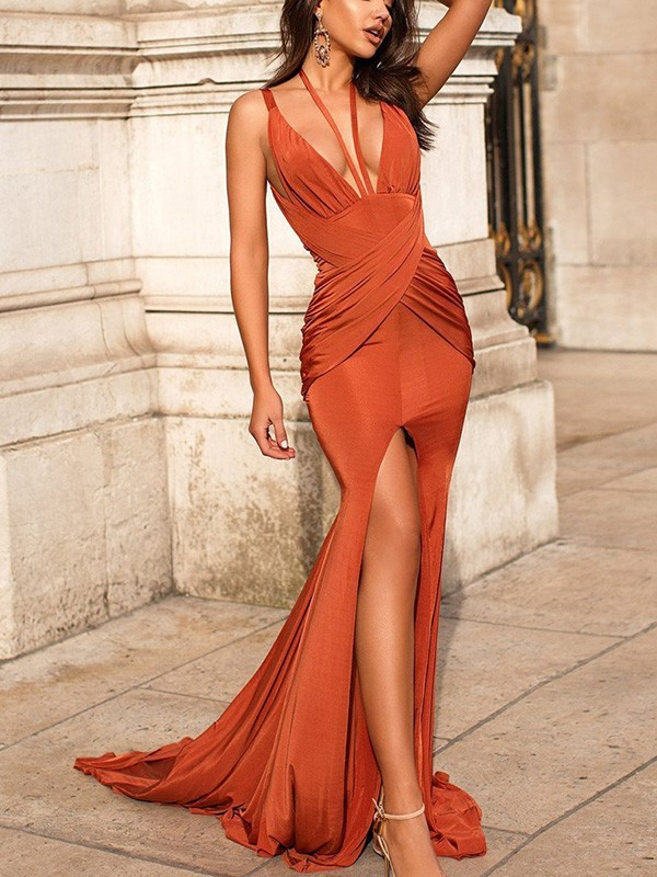 Kiss Of Stars Mermaid/Trumpet Ruched Sleeveless Satin V-neck Sweep/Brush Train Dresses