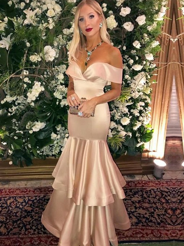 Pure Beauty Mermaid/Trumpet Satin Off-the-Shoulder Sleeveless Layers Long Dresses