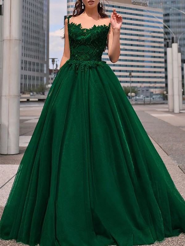 A-Line Bateau Tulle Beading Floor-Length Sleeveless Prom/Formal Evening Dresses