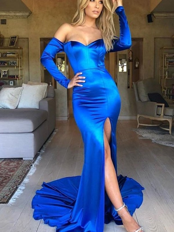 Dancing Queen Mermaid/Trumpet Ruched Elastic Woven Satin V-neck Long Sleeves Court Train Dresses