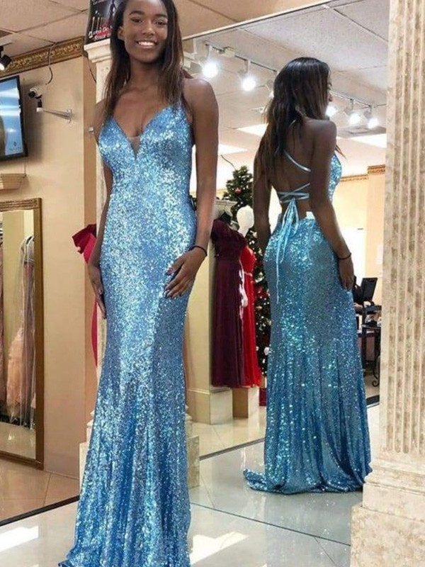 Mermaid/Trumpet Sequins Sleeveless V-neck Ruffles Sweep/Brush Train Dresses