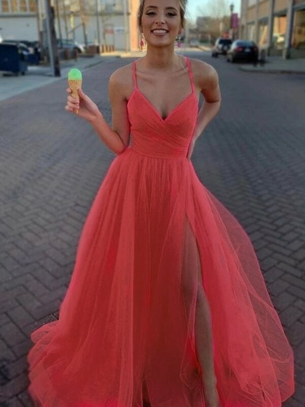 A-Line Sleeveless Tulle V-neck Ruched Sweep/Brush Train Prom/Formal Evening Dresses