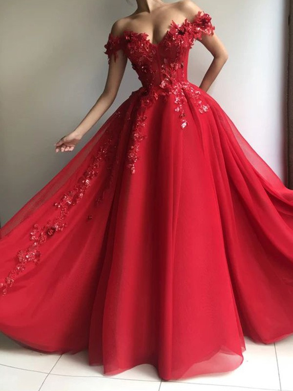 Pure Beauty A-Line Off-the-Shoulder Tulle Sleeveless Applique Floor-Length Dresses