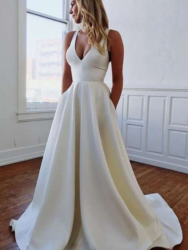 Show Me Love A-Line V-neck Satin Ruffles Sleeveless Sweep/Brush Train Wedding Dresses