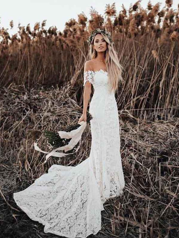 Mermaid/Trumpet Applique Off-the-Shoulder Short Sleeves Court Train Bridal Gown with Lace