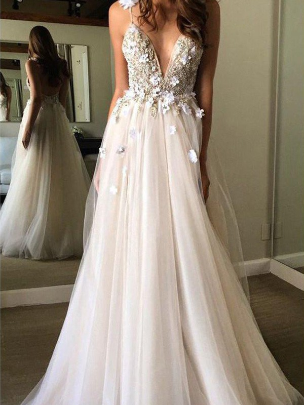 Because Of You A-Line Tulle V-neck Sleeveless Floor-Length Wedding Dresses with Beading
