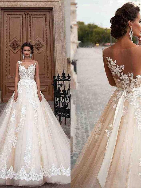 Because Of You A-Line Tulle Scoop Sleeveless Court Train Bridal Gown with Applique