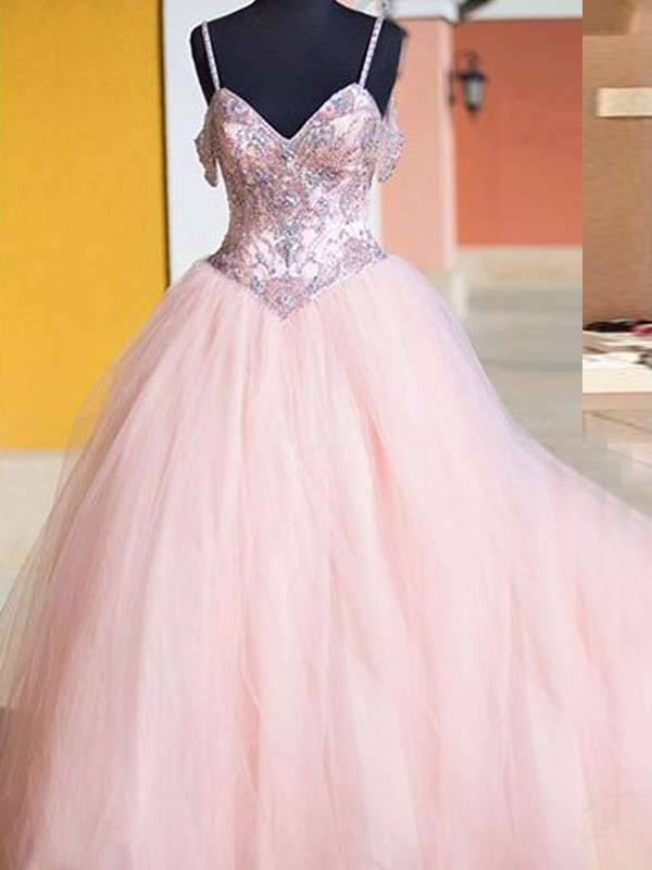 Ball Gown Sleeveless Spaghetti Straps Tulle Long Dress With Crystal