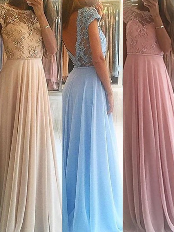 A-Line/Princess Sleeveless Scoop Long Chiffon Dress With Beading