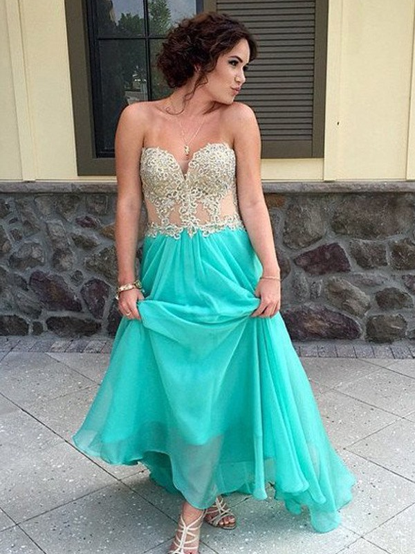 A-Line/Princess Sweetheart Sleeveless Long Chiffon Dress With Appliques