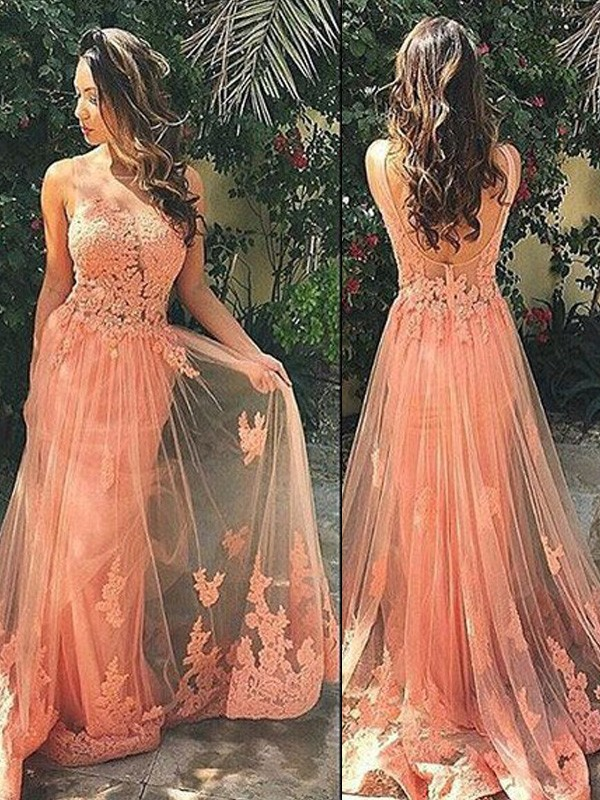 A-Line/Princess Straps Sleeveless Tulle Sweep/Brush Train Dress With Appliques