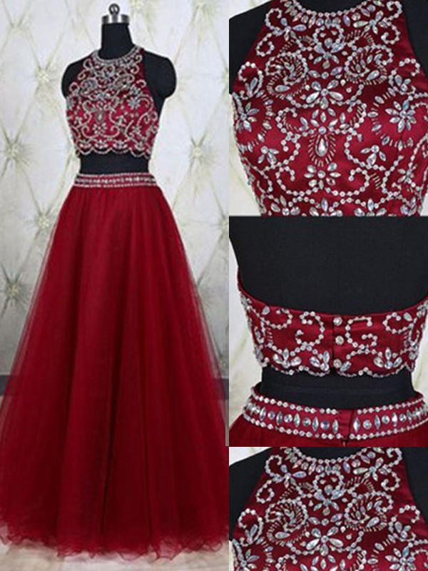 A-Line/Princess Sleeveless Jewel Tulle Long Two Piece Dress With Beading