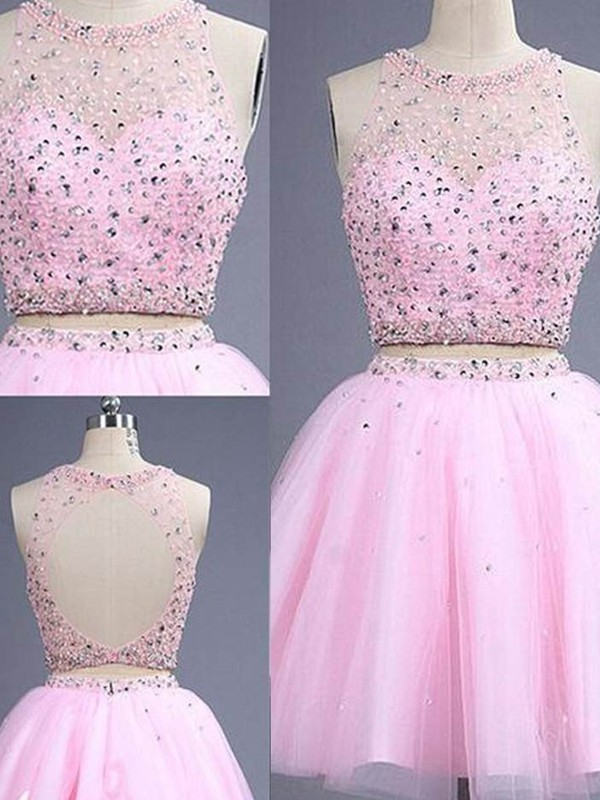 A-Line/Princess Sleeveless Scoop Short/Mini Tulle Two Piece Dress With Beading